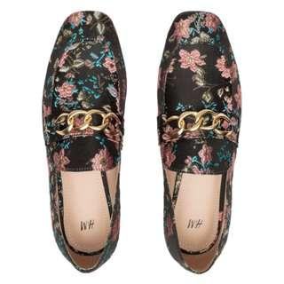 H&M Jacquard Patterned Shoes / Loafers / Chain / Floral - Size 36