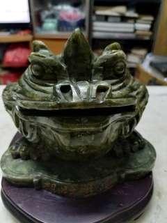 青玉金錢紋獨角蟾蜍長19cm高13cm