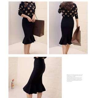 Black Skirt- Free Size- Ready Stocks
