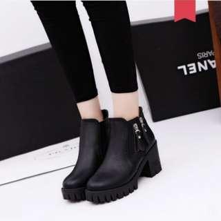 Women Korean Fashion Retro High Heeled Martin Boots [Black/Gray/Brown]