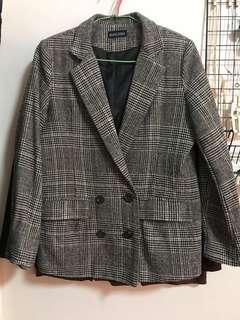 毛料格紋墊肩西裝外套