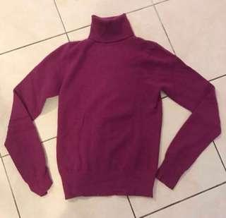 Original Mango Turtleneck Knitted top in Purple