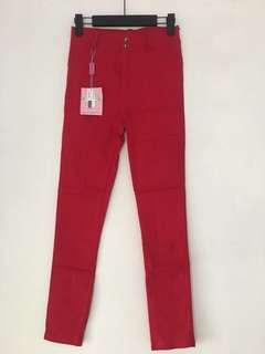 Red Stretchy Jeggings Legging Jeans