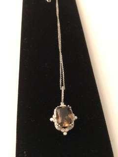 14k gold smoky quartz & diamonds with gold chain