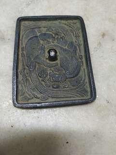 舊銅鳯紋方形鏡長12.2cm