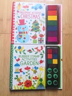 Usborne fingerprint Christmas/ usborne rubber stamp garden books