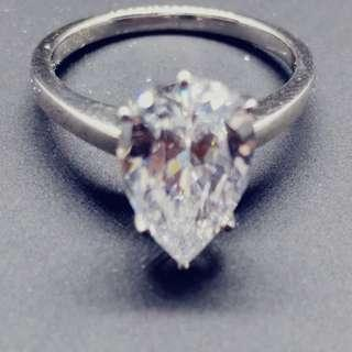 Pear Shape Cubic Zirconia Solitaire Ring