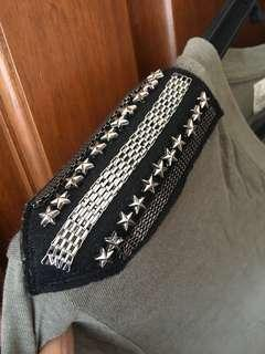 Zara Army T-shirt with Shoulder Details