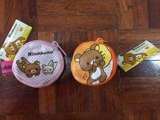 Sanrio Rilakkuma Kitty TeddyBear Children Coin Pouch Strap On