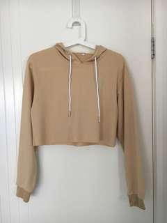 Beige Tan Coloured Crop Hoodie