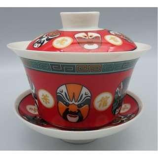 北京老舍茶館 ~ 京劇面譜  老尹記 陶瓷中式茶杯(三件)