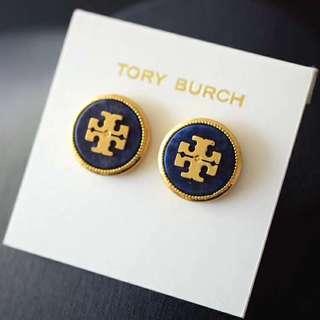 聖誕交換禮物精選Tory Burch Earrings 1.8cm Navy 白寶藍色貝殼紋耳環1.8cm 闊