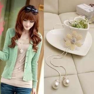 🚚 Korean Silver Glittery Flower Long Dangling Necklace