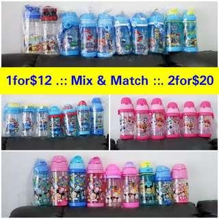 1for$12 2for$20 Frozen Fever Anna Elsa Paw Patrol Lol Suprise Hello Kitty Pony Minion Despicable me Unicorn Children water bottle for Christmas Exchange gift or school or childcare or outing or outdoor/indoor activity