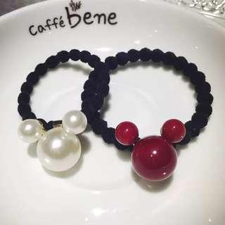 🚚 Mickey Hair Rubber Band - White / Red