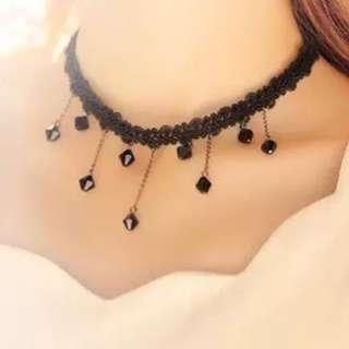 🚚 Korean Black Beads Choker Necklace