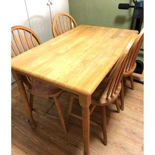 Small Dining Table with 4 chair (Size: 76 cm x 120 cm)