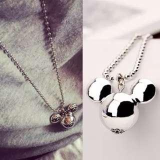🚚 Silver Mickey Mouse Pendant Long Necklace