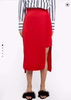 RIVER ISLAND Wrap Midi Skirt (Red)