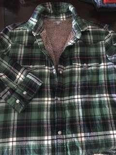 Flannel check shirt with lining