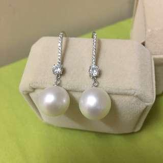 天然珍珠耳環11mm