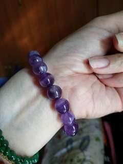 天然虎牙紫水晶珠手鍊