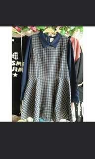 全新正韓深藍格紋學院風洋裝