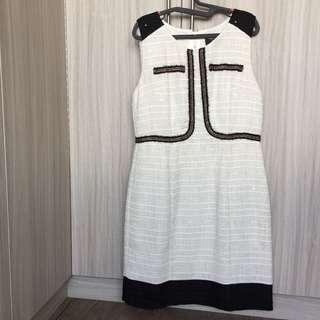 [PRICE REDUCED] Chanel Inspired Shift Dress In White Tweed