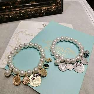 🚚 Korean Style Pearl Bracelet with Gold Love Charms