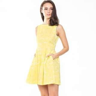 [PRICE REDUCED] Skater Dress in Yellow embossed