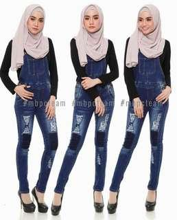 Ripped Overall Jeans