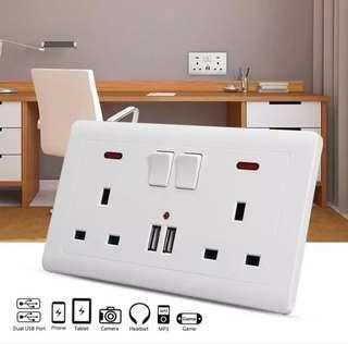 USB Wall Socket Charger Double Power Plug Socket Wall Switched with 2 USB Charger Ports adapter UK Standard Outlet