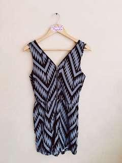 Tribal Black/Gray Zipped Romper