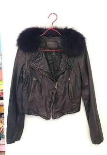 Leather Jacket 深紫色羊皮毛領皮褸 (毛領可拆)