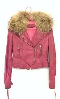 Leather Jacket 粉紅色羊皮皮褸(毛領可拆)