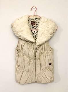 Leather Vest 米色羊皮雙層背心皮褸