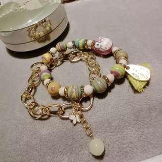 🚚 Korean Double Pink Owl Pearl Bracelet