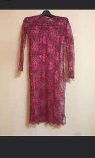Kurung Lace Red Top INDO STYLE