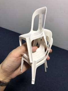 Miniature plastic kopitiam chair @ $3 each (White Color Only)