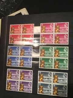 Singapore 1959 um mint set block of four !
