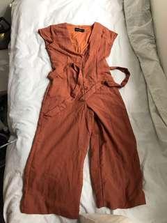 Romper tan caramel brown jumpsuit culottes size small