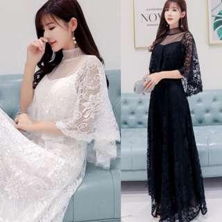 pre order black white cape lace plus size wedding prom dress gown  RBP0922