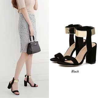 pre order black gold party thick heels Sexy pumps 9.5cm  RBH0312