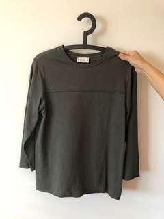 Pull and bear olive green Long sleeve top