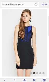Love & Bravery Monica Scallop Lace Detail Dress Cobalt
