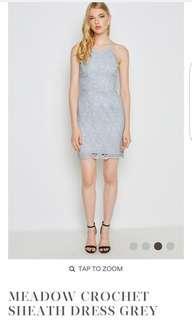 Love & Bravery Meadow Crochet Sheath Dress Grey