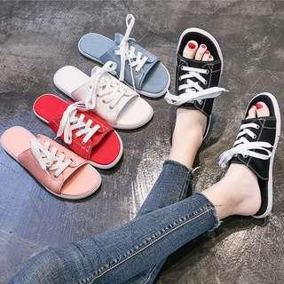 PREORDER - Simple Casual Half Shoe Lace Sandal Slipper