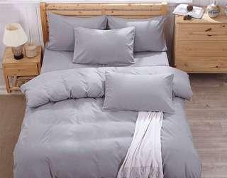 BN Brand New Minimalist Stylish Super Single Single Color Gray Grey Bedsheet Set