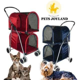 Double Basket Detachable Cat Stroller