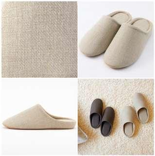 MUJI Linen Twill Cushion Slippers room shoes w/tracking